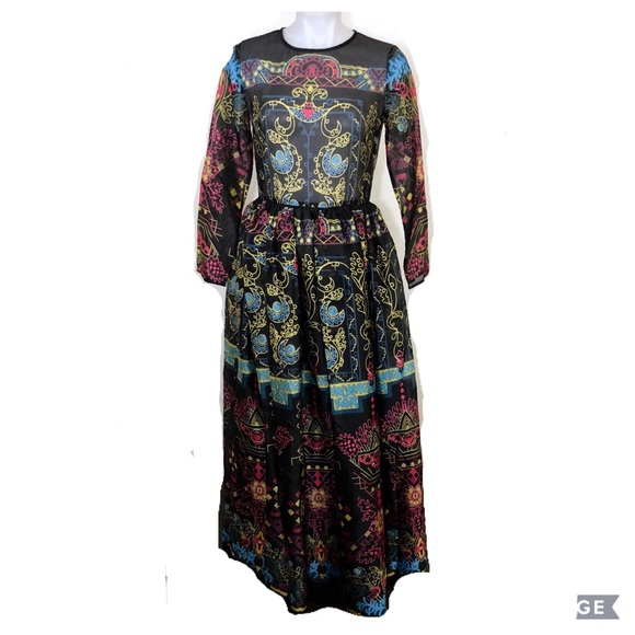 34acce88aff78 Anthropologie Dresses & Skirts - BHLDN Temperley Tattoo Sheer Silk Abstract  gown